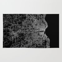 milwaukee Area & Throw Rugs featuring milwaukee map by Line Line Lines