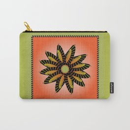 Orange Stitched Flower Carry-All Pouch