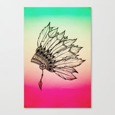 Native American Spiritual Feather Headdress Canvas Print