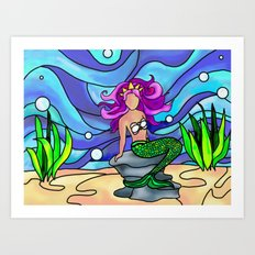 Stained Glass Mermaid Art Print