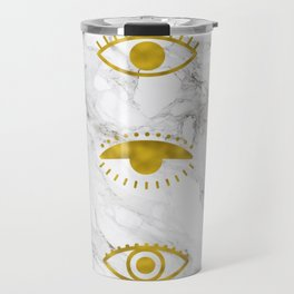 Golden Eyes on Marble Travel Mug