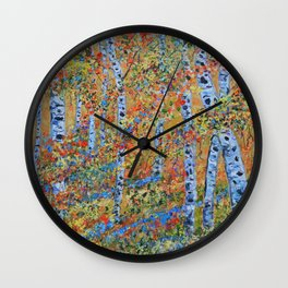 Aspen Trees, Birch Trees, Abstract Art, Landscape Painting Wall Clock