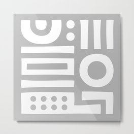 Mid Century Modern Abstract Composition 118 Gray Metal Print