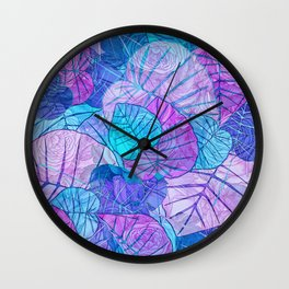 Leaves in Rosy Background Wall Clock