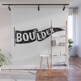 Boulder Colorado Pennant Flag // University College Dorm Room Graphic Design Decor Black & White Wall Mural