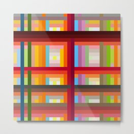 Nereid - Abstract Colorful Grid Stripes Pattern Metal Print