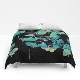O Ginkgo (on Black) Comforters