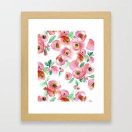 Floral Print Pink Chaenomeles Framed Art Print