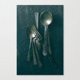 Beautiful Vintage Spoons on Black Canvas Print