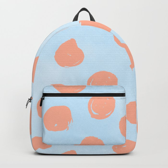 Sweet Life Dots Peach Coral Pink + Blue Raspberry Backpack