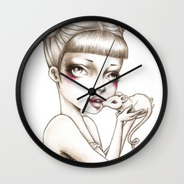 Girl & mouse Wall Clock