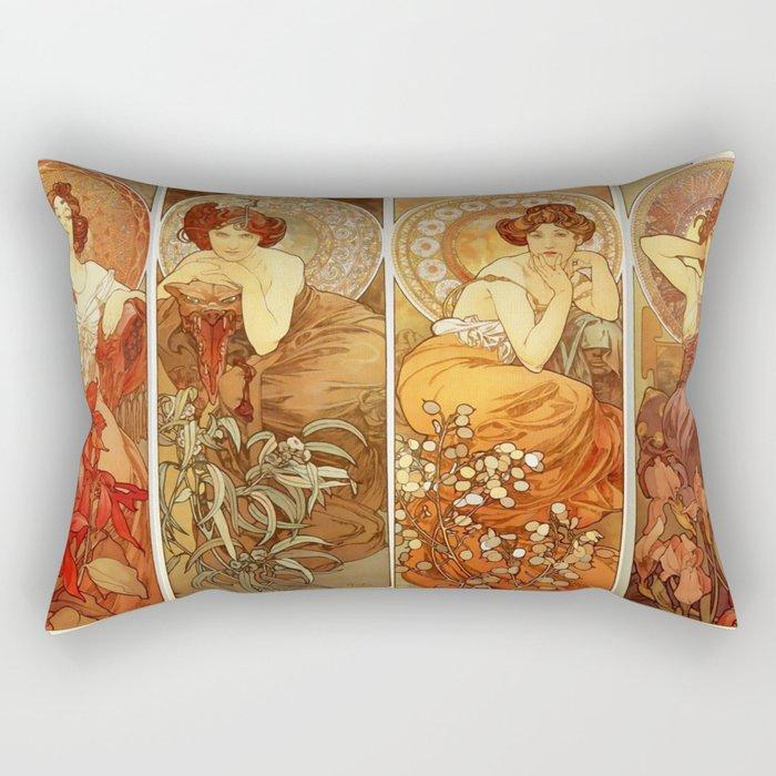 """Alphonse Mucha """"The Gem Series - Ruby, Amethyst, Emerald, Topaz"""" Rectangular Pillow"""