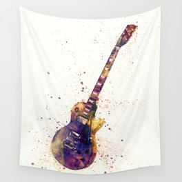 Electric Guitar Abstract Watercolor Wall Tapestry