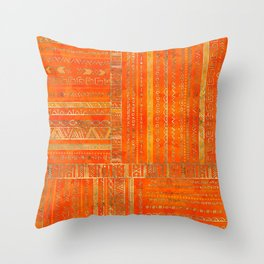 Tribal Ethnic pattern gold on bright orange Throw Pillow
