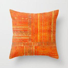 Tribal Ethnic pattern gold on bright orange Throw Pillow