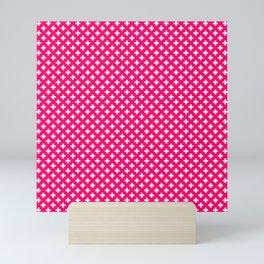 Small White Crosses on Hot Neon Pink Mini Art Print