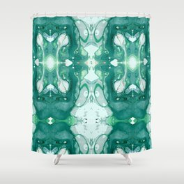 A Green Marble Shower Curtain