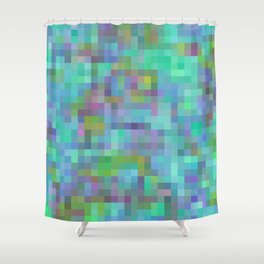geometric square pixel pattern abstract in green blue pink Shower Curtain