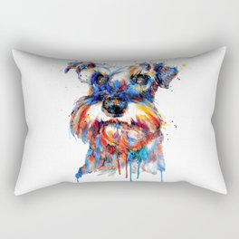 Schnauzer Head Watercolor Portrait Rectangular Pillow