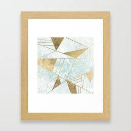 Modern blush green faux gold marble triangles stripes Framed Art Print