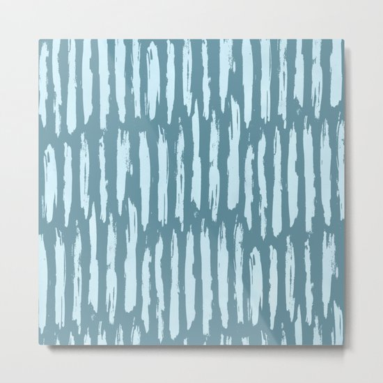 Vertical Dash Turquoise on Teal Blue Metal Print