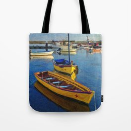 Yellow fishing boat, Santa Luzia, Portugal Tote Bag