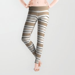 Pantone Hazelnut Nutmeg & White Thick and Thin Horizontal Lines Bold Stripe Pattern Leggings