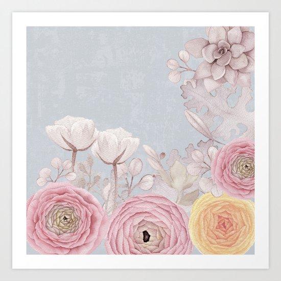 Floral Spring Greatings - Pastel Flowers on #Society6 Art Print