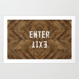 Enter Exit Wood Chevron Art Print