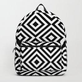 Black & White Monochrome Geometric Diamonds Digital Pattern Backpack