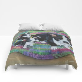 Boston Terrier and Puppies Comforters
