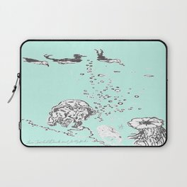 Two Tailed Duck and Jellyfish Mint Green Laptop Sleeve