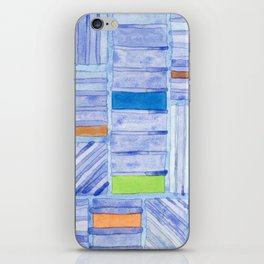 Blue Panels with Colorful Inlays iPhone Skin