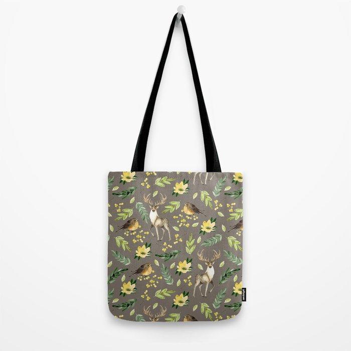 Deer and birds Tote Bag
