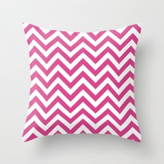 Classic Chevron Pattern in Magenta and White Throw Pillow