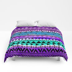 Purple and Teal Tribal Pattern Comforters