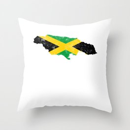 Jamaica Flag design distressed vintage Throw Pillow