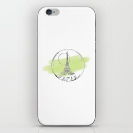 paris in a glass ball . green pastel colors iPhone Skin