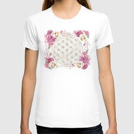 Flower of Life Rose Garden Gold T-shirt