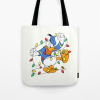 donald duck Tote Bags featuring Funny Angry Donald Duck by Yuliya L