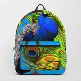 BLUE-GREEN PEACOCKS & LIME FEATHERS ART Backpack