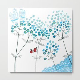 Ladybirds and butterflies and Forget-me-not Metal Print