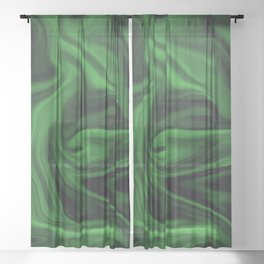 Black and green marble pattern Sheer Curtain