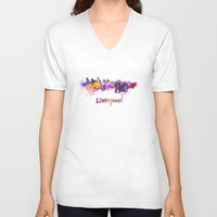liverpool V-neck T-shirts featuring Liverpool skyline in watercolor by Paulrommer