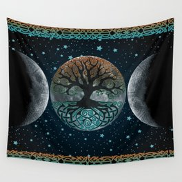 Autumn Esoteric Triple Moon Wall Tapestry