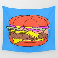 burger Wall Tapestries featuring Burger Pop by Tyler Spangler