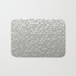 White hexagons Bath Mat