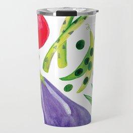 Veg Out - Vegetable, Veggies, Watercolor, Food, Beet, Carrot, Pea Travel Mug