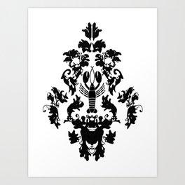 Lobster Damask Art Print
