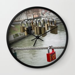 Love padlocks Wall Clock
